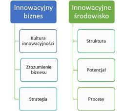 Schemat usługi Innovation Health Check pokazujący aspekty innowacyjnego biznesu i innowacyjnego środowiska